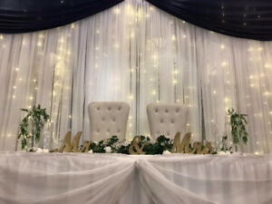 wedding backdrops and bride groom chairs!! affordable