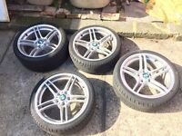 """GENUINE BMW 313 M PERFORMANCE 18"""" ALLOYS FULL SET WITH TYRES!"""