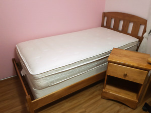 BED WITH NIGHT STAND AND MATTRESSES
