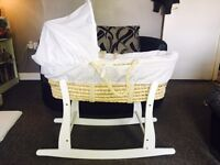 White Moses Basket and Rocker