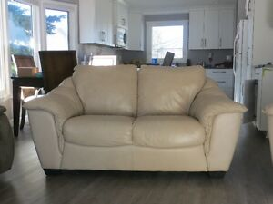 Beige Leather Couch & Love Seat Set