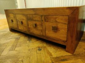 Dark solid mango wood coffee table unit