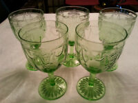 Verres Anchor Hocking CAMEO GREEN Water Goblet VINTAGE