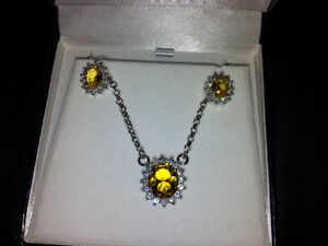 Beautiful Necklace, Earrings and Ring set $1425.00 value