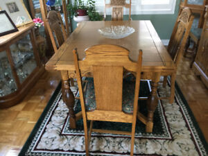 Antique buffet, china cabinet W/ table, 5 chairs & one armchair