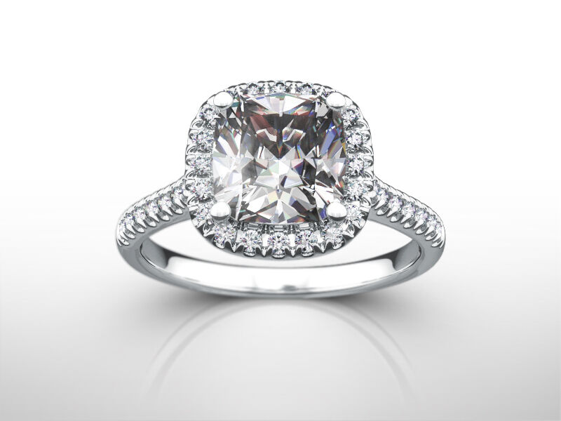 Diamond Ring Halo Cushion 3 Carat Vs1 F Solitaire Accented 14k White Gold Cert