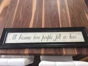 Framed Quote for Wall: All Because Two People Fell In Love