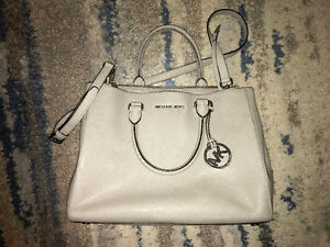 Michael Kors Saffiano Leather Satchel in Grey
