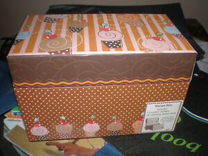 Brand New Cupcake Recipe Box & Various Shape Cutters & Sifters