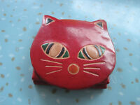Brand New Small Custom Hand Made Leather Cat Change Purse