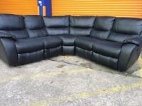 Harvey's belaire leathaire black corner electric reclining sofa ex display model