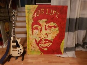 2 PAC Tupac Huge Original Art 33 x 44 on Wood NICE