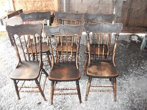 Set of 6 Burning Bush Press Back Chairs