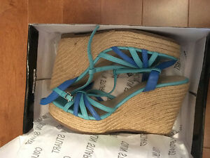 Colin Stuart turquoise espadrille wedges - new in box
