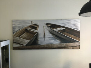 "Wall Art, Urban Barn Canvas, ""2 Boats"" - Great Condition"