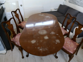 Set of Antique Table and 4 Chairs