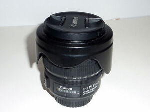 Canon EF-S 15-85mm IS USM lens + UV and CPL 72mm filter + Hood