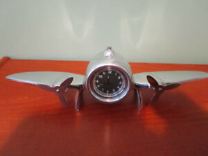CHROME AIRPLANE DESK CLOCK WITH ALARM