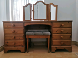 Soild Pine Dressing Table with Mirror and Stool