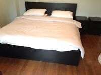 Black Super King Size bed and Mattress with Bedside Tables/Drawers