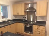 Used kitchen units with gas hob, electric oven, extractor hood and integrated dishwasher