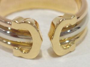 Authentic CARTIER 18k tri-color gold Double C ring