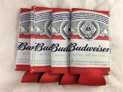 NEW 4 Pack Large Budweiser Beer Can Bottle Coolor Koozie 25 oz