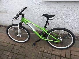 "Carrera blast mountain bike green and white good used condition 24"" wheels"