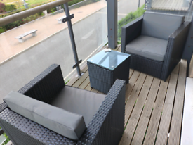 3pcs Patio 2 Seater Rattan Sofa Table Set Garden/Balcony Furniture