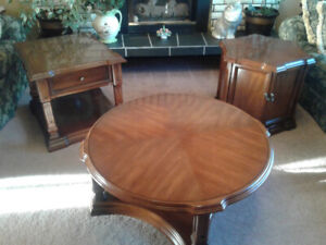 Round coffee table and two end tables