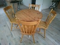Shabby chic round pine table and chairs - £50 o.n.o
