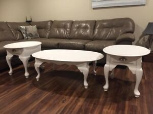 Solid Wood Antique Coffee Table & End Tables