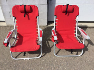 2 Red Reclining Camping Chairs, Sleeping Bags, Water Jugs