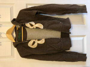 xs brown TNA zip-up sweater