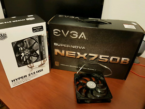 EVGA  power supply 750 W + cpu cooler