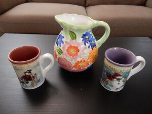 Ceramic Mugs and Jug