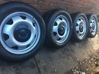 """4x Brand New 17"""" Genuine VW Transporter T6 T5 steel wheels + new Continental tyres T30 T32 CAN POST"""