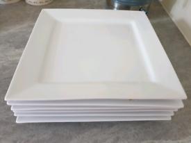 white square plates x6