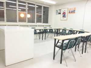 Classrooms, hall and studio for rent