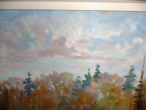 "Peter Stoyan (Stoyanoff) ""Sunlit Fields"" 1951 Original Oil Paint Stratford Kitchener Area image 6"
