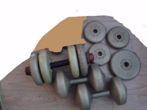 Dumbbells, mini barbell and weights - Take all for $20 today