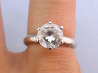 Shiny Vtg 8mm CZ Elevated Solitaire .925 Silver Ring, Sz 8 1/4