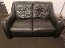 Black leather sofa. FREE to collect