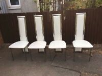 SET OF 4 CHROME HEAVY DINING CHAIRS DO HAVE MARKS ** FREE DELIVERY AVAILABLE **