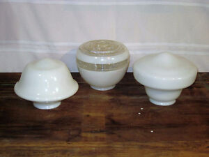 Antique 3 Globes Antique Milk Glass