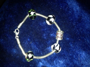 Silver bracelet and pendents