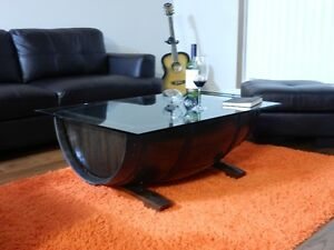Wine/whiskey barrel coffee table handmade
