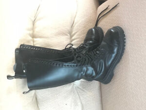 Demonia Black Leather 29 Hole Combat Boots