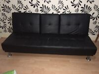 3 seater Black Faux Leather Sofa Double Bed