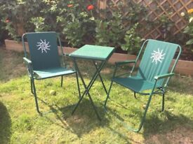 Folding Deckchairs and table